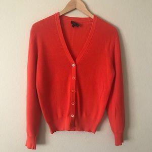 J. Crew Ribbed Cardigan Sweater Orange